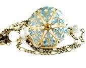 Get 15% OFF - Handpainted Locket, Personalized Locket, Swarovski Citrine Crystal Brass Filigree Locket Necklace - Labor Day 2015 SALE