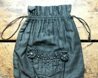 Vintage Black Silk Victorian Ladies Drawstring Purse with Beaded detail - Great Halloween Decor!