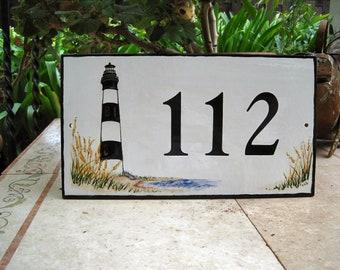 Tile House Numbers  CUSTOM LIGHTHOUSE 7x12 1/2