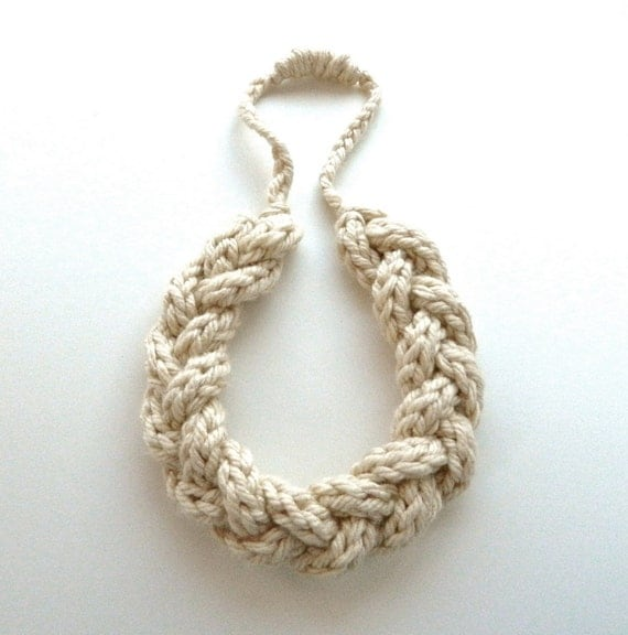 Crochet Yarn Necklace - Braided Jewelry - Crocheted Loop Necklace - Made to Order