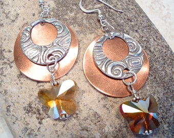 Sterling and Fine Silver Butterfly Crystal Earring