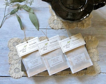 Tea Sampler • Handmade Loose Leaf Tea Bags (Choose 6, 12, 18 or 24) • Party Favors • Tea Lover's Gift
