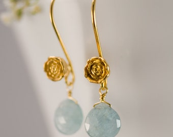 March Birthstone Earrings - Aquamarine Earrings - Gold Earrings - Flower Earrings