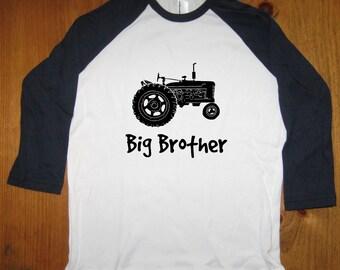 Big Brother Shirt - Big Brother T Shirt Boys Shirt - Raglan Tee Shirt - Tractor Shirt - Sizes 8, 10, 12,  - Gift Friendly
