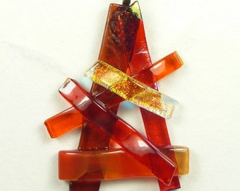 Red and Orange Pendant With Fused Dichroic Glass