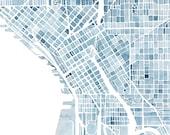 Seattle Washington Blueprint 10x8 City map watercolor wall art ready to frame