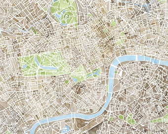 London Sepia Green Blue watercolor Map 5x7 8x10 11x14 12x16 Print Map Decor