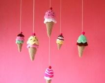 Baby Crochet Mobile Pattern - toy, rattle, mobile Ice Cream amigurumi PDF - beginner tutorial  - Instant DOWNLOAD