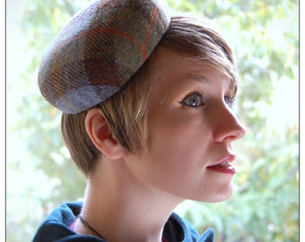 Cocktail hat Blue and green checked tweed pillbox hat