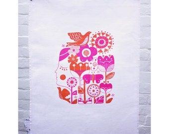 The Dreamer: Pink & Orange Tea Towel