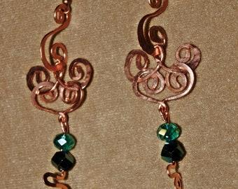 Copperwork Earrings in Deer Pattern with Iridescent Teal Crystals