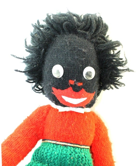 Knitted Golliwog Doll with Green Pants