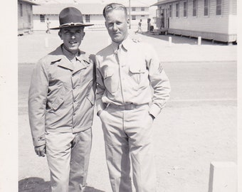 My Platoon Sargent & I- 1940s Vintage Photograph- Camp Roberts, California- WWII Soldiers- WW2 Identified Photo- Snapshot- Paper Ephemera