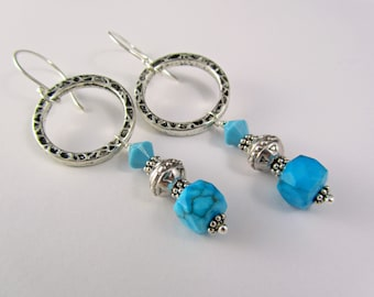 Turquoise Hoop Earrings - Hammered Silver Hoops with Turquoise and Swarovski Crystal - Turquoise Dangle Earrings - Alteredelementsjewel