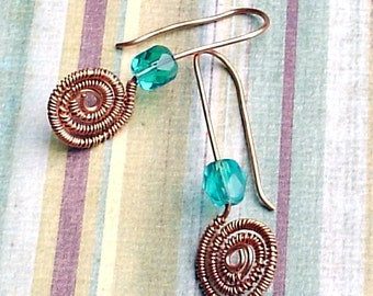 Czech Glass Crystal Beaded Copper Coiled Earrings Teal