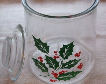 Cookie Jar Holly and Berries Jar with Lid Glassware Christmas Cookie Jar 1950s 1960s