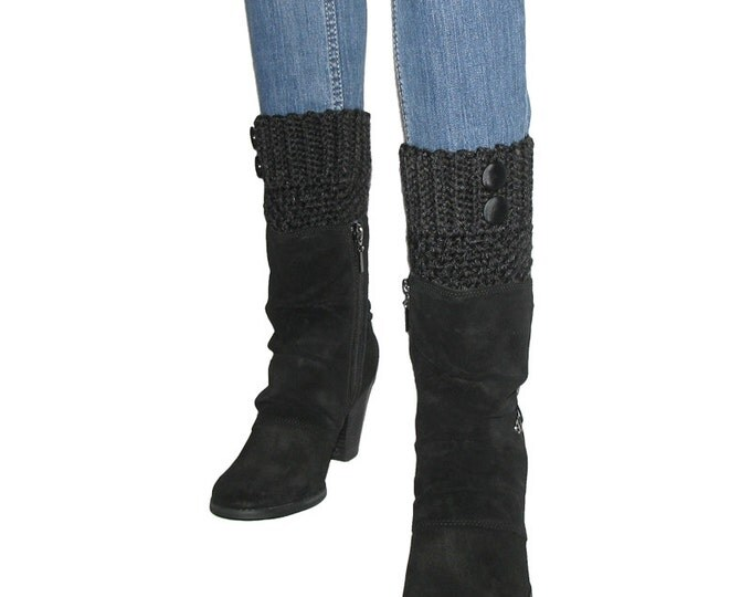 Crocheted Black Heather Boot Cuffs With Black Satin Finish Buttons, Black Leg Warmer, Black Tights, Skinny Jeans Fashion Accessory For Women