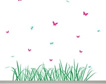 Grass, Butterfly and Dragonfly Wall Decal - Grass Decal 70,9'' / 180 cm long, 9 Butterflies and 6 Dragonflies