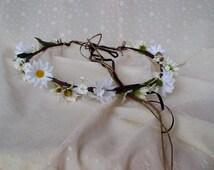 Hippie Headpiece Daisy Hair Wreath EDC Flower Crown Headwreath bridal halo Woodland wedding hair wreath accessories floral boho hairpiece