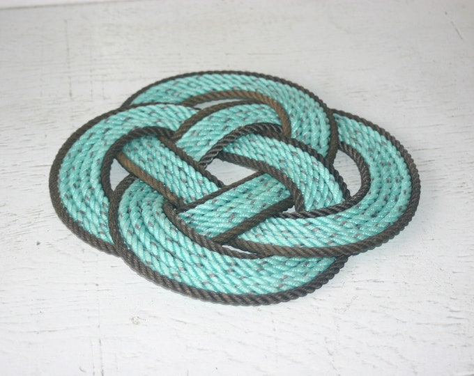 Trivet Hand Woven Rope Trivet Nautical Decor Green and Brown Mint Chocolate Chip 11 inch