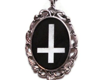 Inverted Cross Necklace Antique Silver Black And White