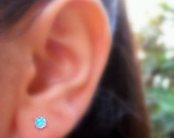 Stud Earrings - Sterling Silver 4mm Blue Opal Earrings - 20 Gauge - ONE PAIR - Cartilage Earring - Cartilage Piercing
