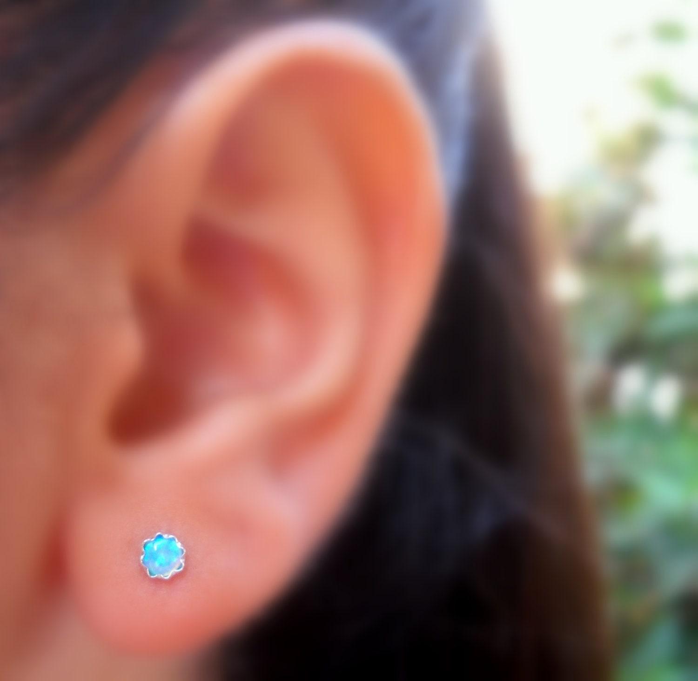 Stud Earrings Sterling Silver 4mm Blue Opal Earrings 20