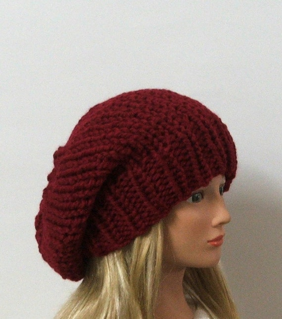 Made to Order - Chunky Knit Cranberry Red Slouchy Beret Hat