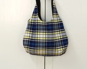 Tote bag  Blue and Yellow Plaid reversible