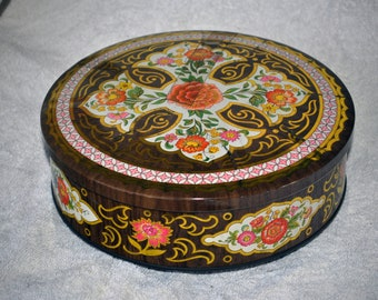 Floral Daher Tin in Gold and Brown Woodgrain