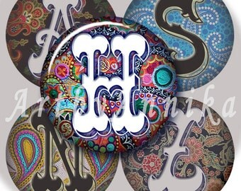 Digital Collage of Paisley with letters - 63 1x1 Inch Circle JPG images - Digital Collage Sheet