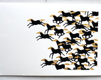 Large Running Horse Screen Print Art Limited Edition of 35