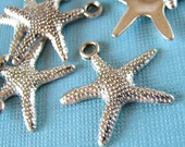 Charms : 10 Silver Starfish Charms / Star Fish Pendants ... 19x19mm ... Lead, Nickel & Cadmium Free Jewelry Findings A30