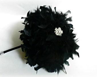 Feather Wedding Bouquet - Brooch Bouquet - Rhinestone Bouquet - Bridal Bouquet - Alternative Wedding Bouquet - Halloween Wedding - Goth