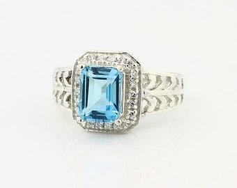 Natural 2.15ct Swiss Blue Topaz Solid 14K White Gold Diamond Ring