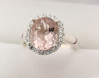 Natural  Oval 10x8mm Morganite  Solid 14K White Gold Diamond Engagement Halo Ring