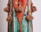 Plus Size Bellydance Tribal Tassel and String Belt in  burgundy/turquoise/browns/creams/peach