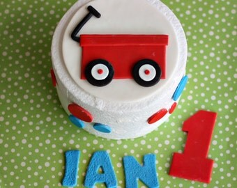 Fondant Radio Flyer Red Wagon, Polka Dot, Age and Name Cake Decorations Perfect for Wagon Themed Birthday