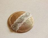 Gold Coctail Hat - Bridal Headpiece - Wedding Hat - Derby Hat - Rhinestone Fascinator - Gold Metallic - Millinery Mini Hat Wedding Headpiece