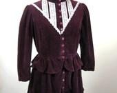 1970s Gunne Style Jacket Skirt Set Maroon Corduroy Womens Small