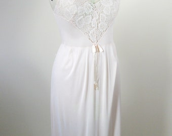 1960s Peach Lace Nightie Full Slip Lingerie Womens Small Nylon Chiffon