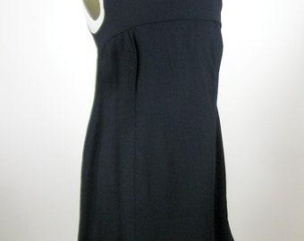 1980s Black Sleeveless Shift Dress Womens Size Medium Smock Top