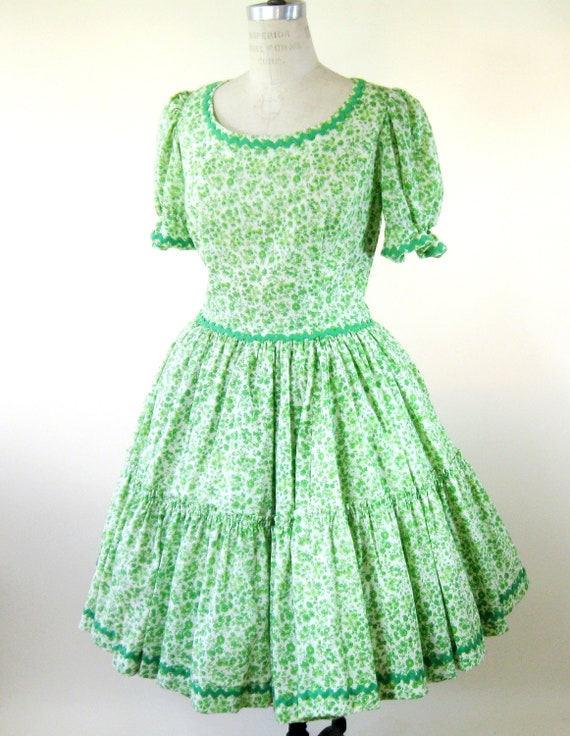 60s Green Floral Dress Swing Dress Square Dance Womens Large