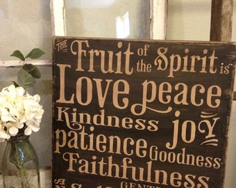 The fruit of the Spirit - 18x18 wood sign - vintage shabby chic looking