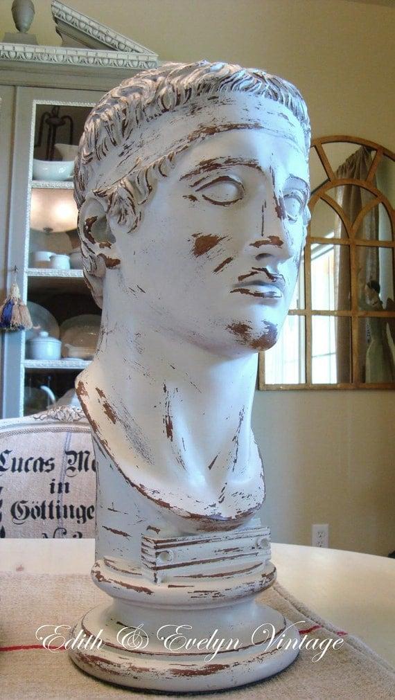 Vintage Ceasar Bust Statue, Large, Shabby White, Original Paint