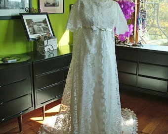 Wedding dress glorious 1960s lace wedding coat satin sheath gown empire wasitline bridal gown