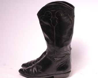 Black Cowboy Boot Size 6.5M womens