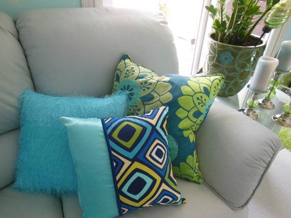 College Dorm Decorative Pillows Monaco Blue by PillowscapeDesigns