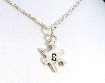 Monogram Puzzle Piece Pendant Necklace, Sterling Silver Initial Necklace