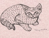 Cat Illustration in Pink - Nice Kitty